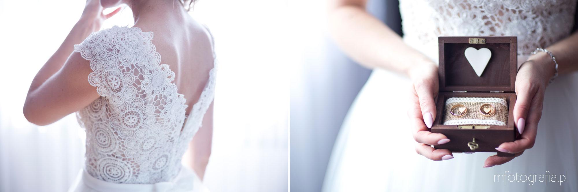obraczki i suknia ślubna