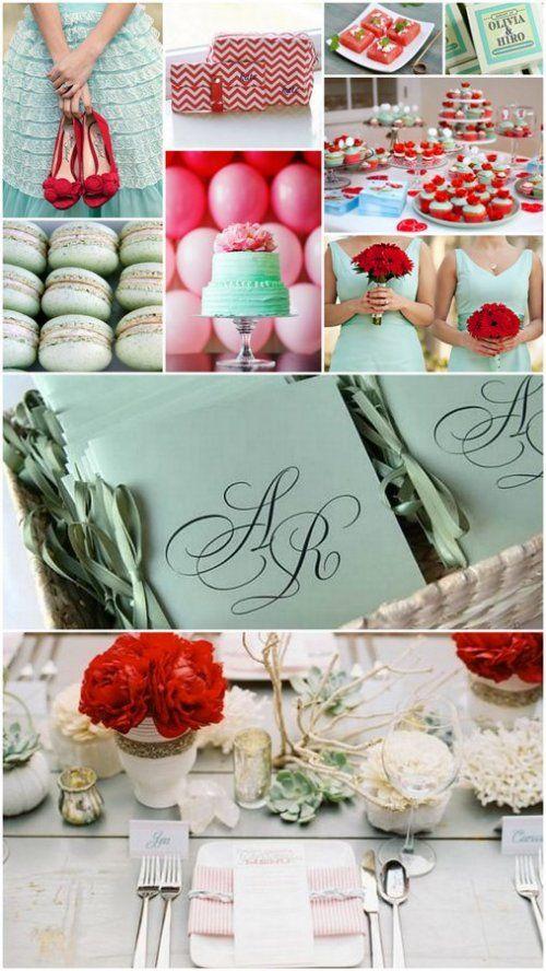 miętowo czerwone dekoracje ślubne - Poradnik Ślubny