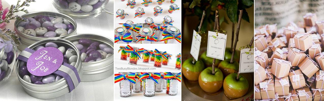 upominek dla gości wselenych - czekoladki w kolorze przewodnim z dedykacją
