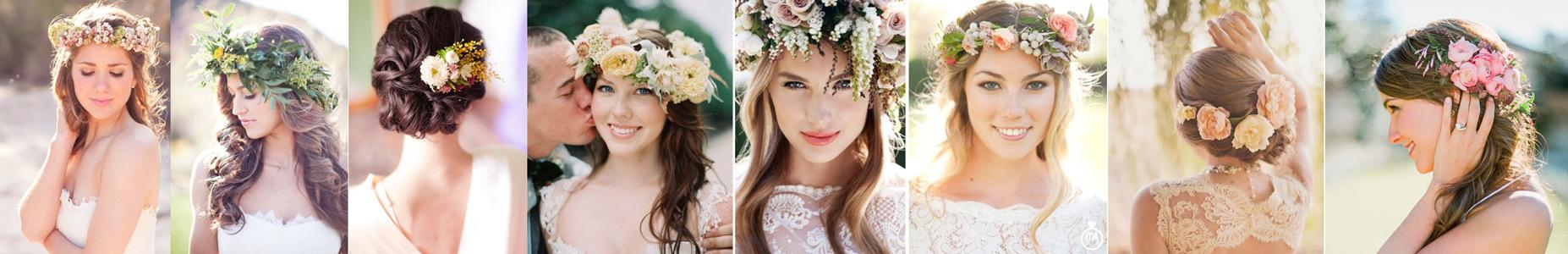 poradnik ślubny - wianek z kwiatów we włosach