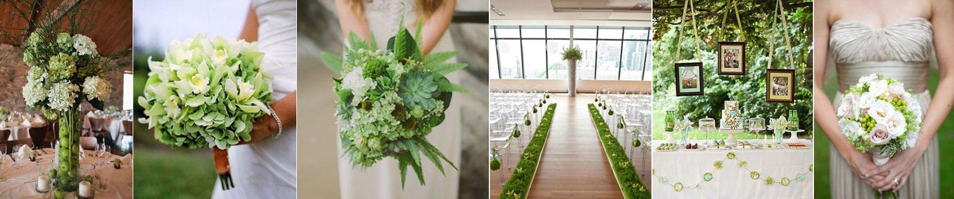 poradnik ślubny - dekoracje ślubne z zielonych kwiatów