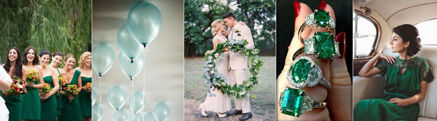 poradnik ślubny - ciemno zielone dekoracje ślubne