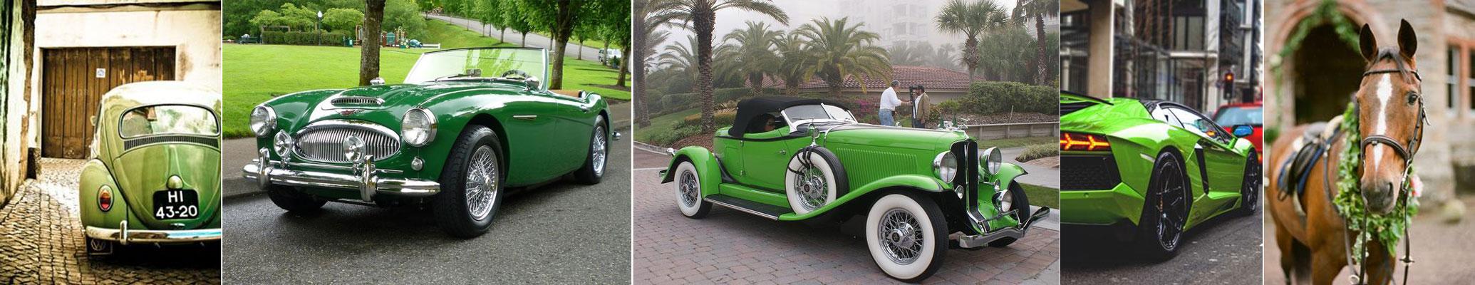 poradnik ślubny - zielone auto do ślubu
