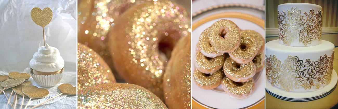 Złote dekoracje tortu weselnego - poradnik ślubny wedding planer
