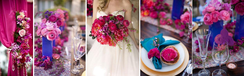 dekoracje ślubne  w kolorach amarant, fuksja, fiolet - poradnik ślubny wedding planner