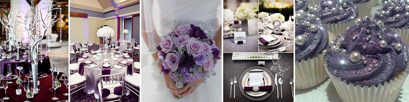 srebrne i fioletowe inspiracje ślubne - poradnik ślubny wedding planer
