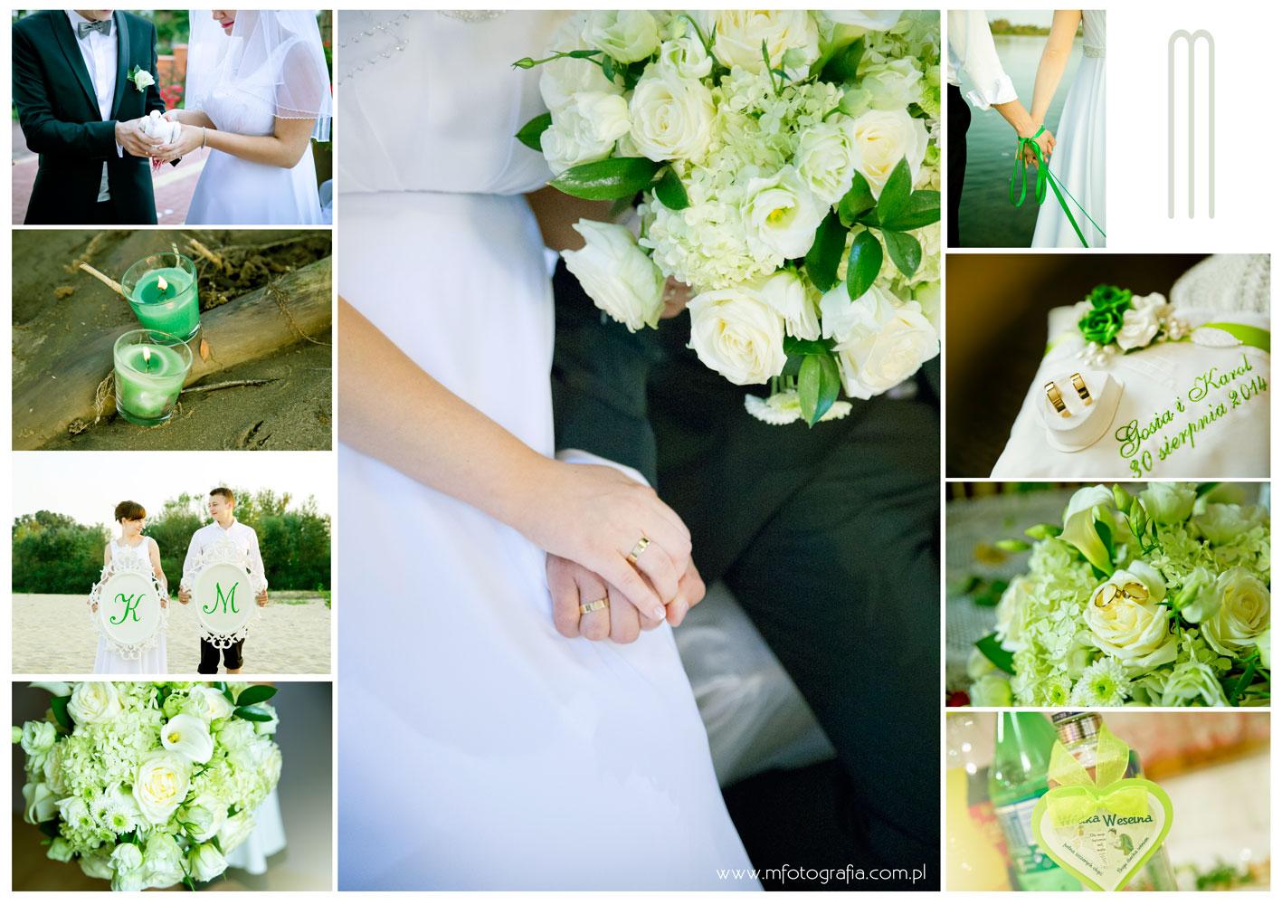 fotografia ślubna - zielone dodatki ślubne