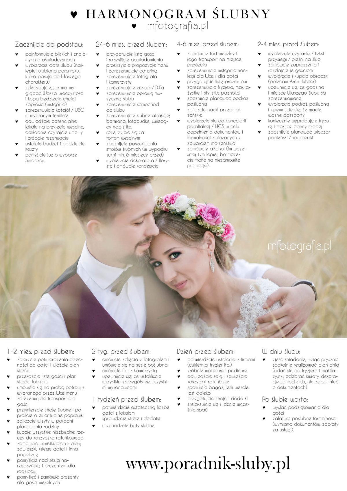 c12ab937d1 Harmonogram przygotowań do ślubu i wesela - poradnik ślubny i weselny