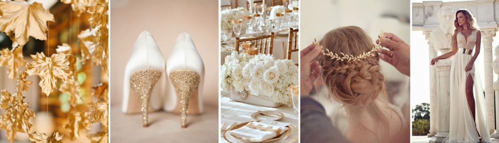 """Ślub """"Na Bogato"""", czyli połyskujące dekoracje w kolorach złotych i srebrnych"""